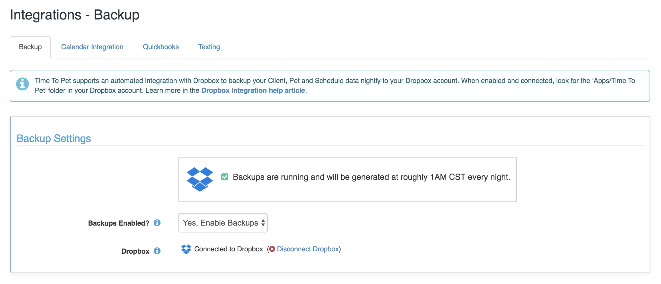 Image of integrations in settings under the Backup tab with dropbox enabled and connected