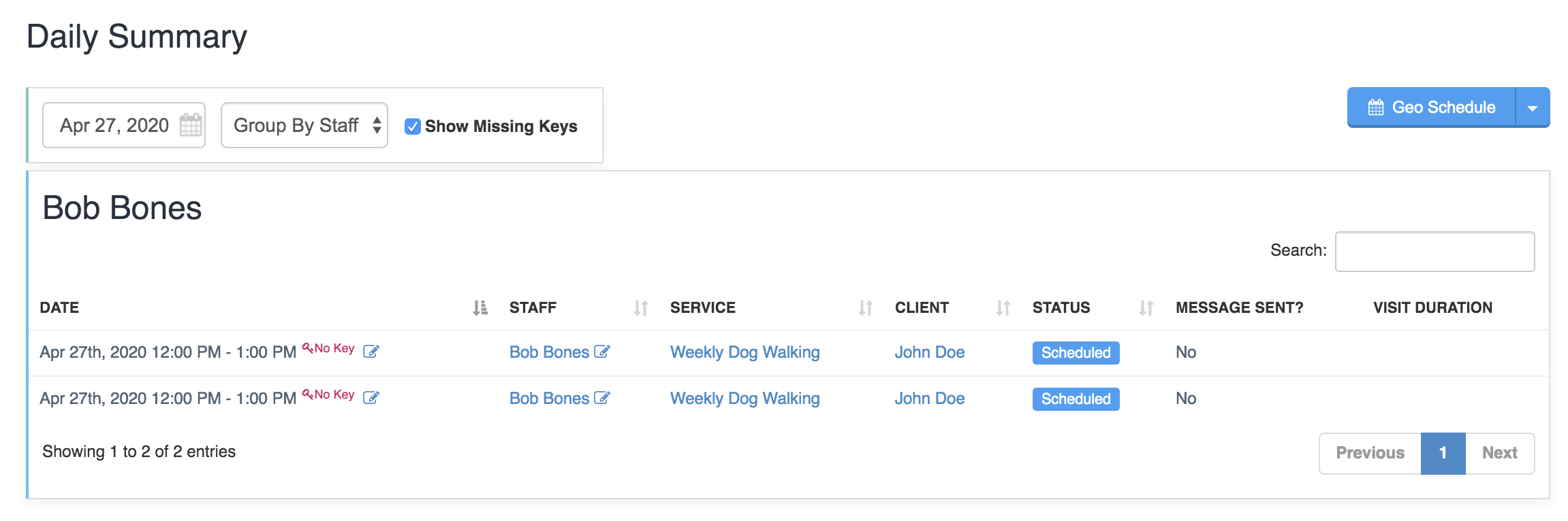 "Daily Summary page with ""Show Missing Keys"" option selected"