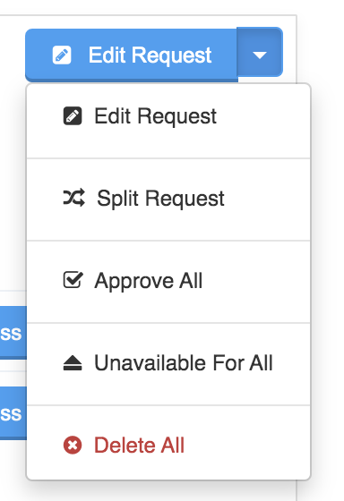 Image of the edit request menu found in the upper right hand corner on the process screen of a pending request