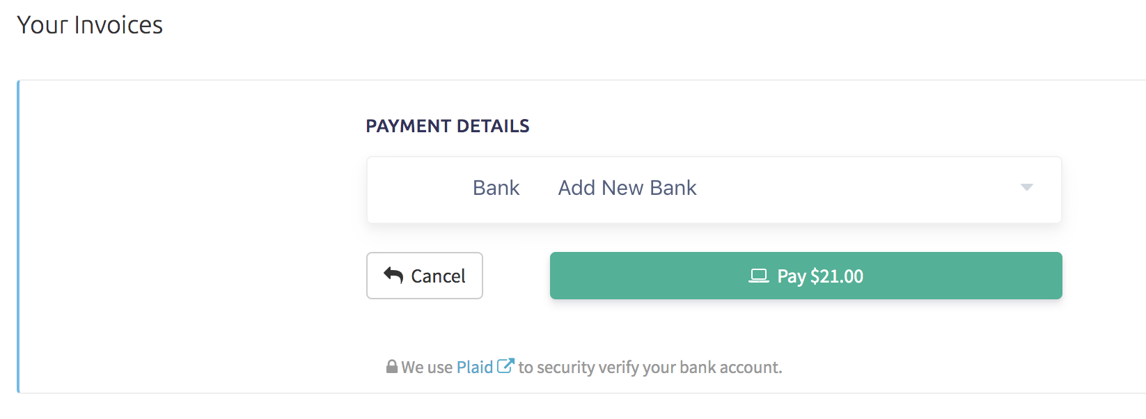 ACH payment option with options to add a new bank or use existing bank info to pay
