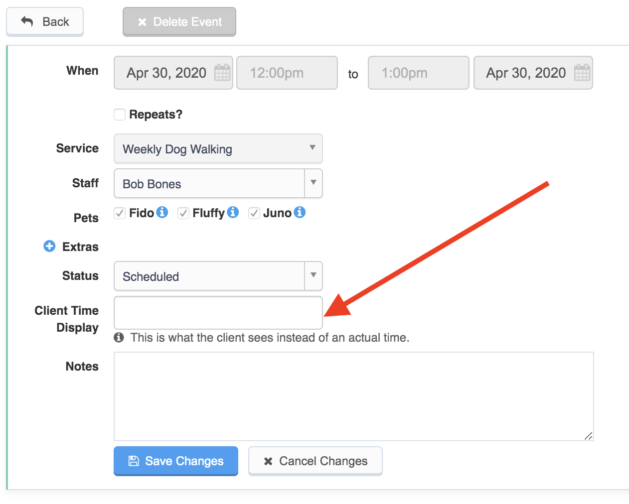 Edit event form on a service with an arrow pointing to the client time display box