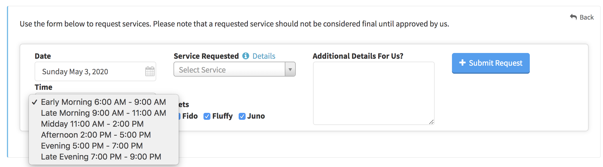 Image of client service request form with hide exact times disabled showing dropdown of schedule blocks with timeframes