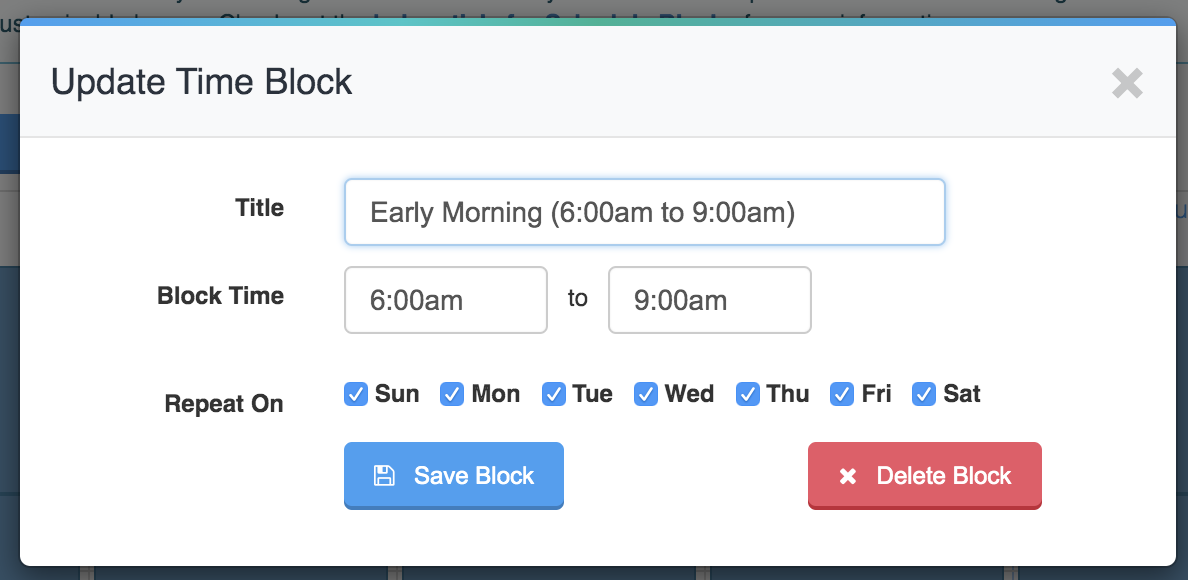 pop up window to update time block showing how to add the time frame into the title of the block