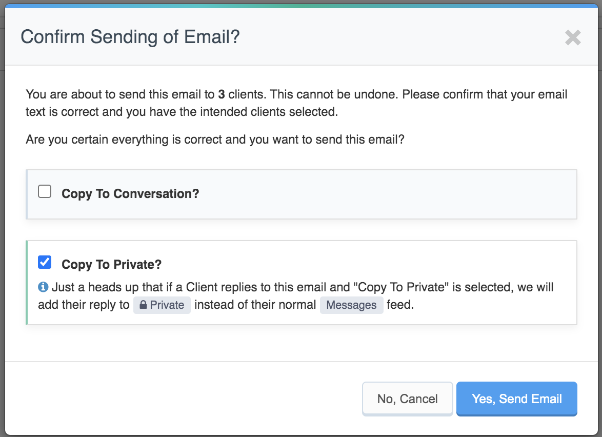 "Confirm Sending Email pop up with ""Copy to Private"" option selected"