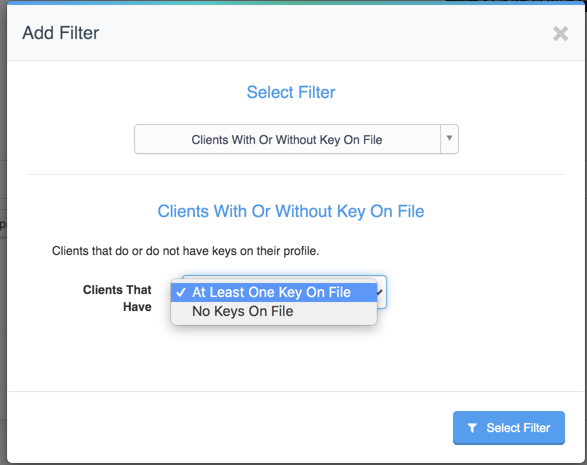 Staff & Client reporting filter to view clients with or without a key