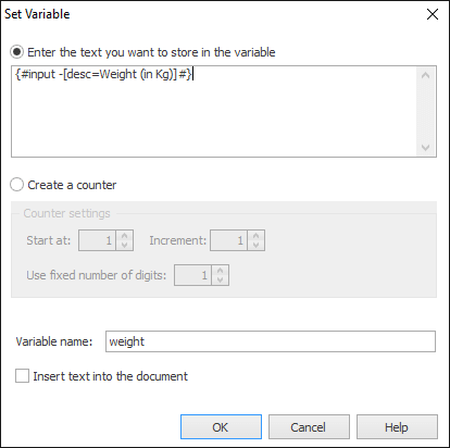 Store a manual input into a variable