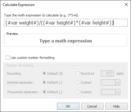 Enter the variables in the calc macro