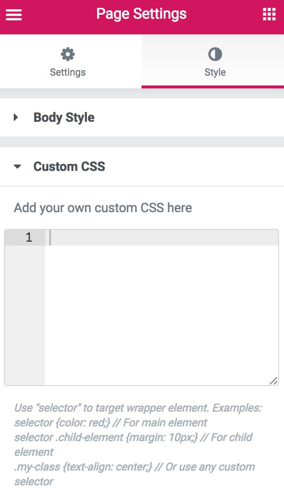 CSS سفارشی صفحه ساز المنتور