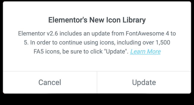 اخطار Elementors New Icon Library در المنتور