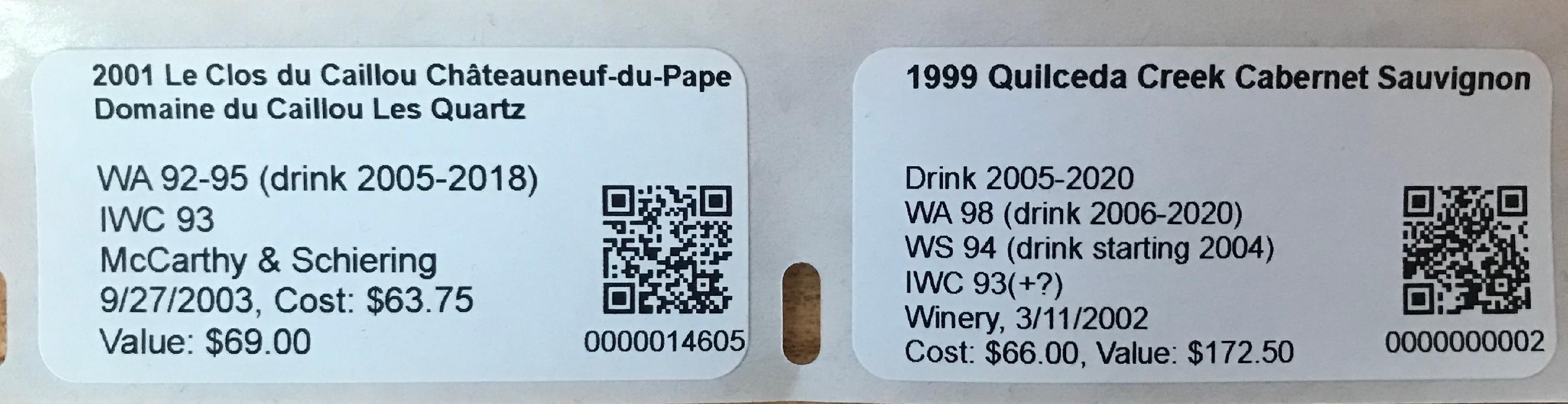 S&le DYMO 30336 per-bottle label with a QR Code. & Barcode Label Types - CellarTracker Support