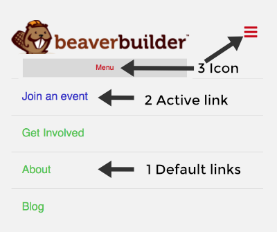 Change menu link and icon colors on small devices - Beaver