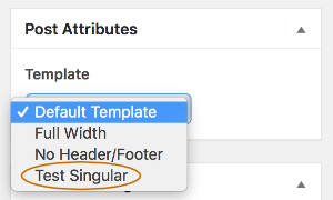 Add A Singular Themer Layout To The Wordpress Page Template Field