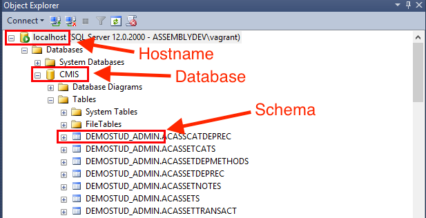 Finding the hostname database and schema from your cmis database you will see a list of all the table names preceded by the schema in the format schemanametablename for example demostudadminasscatdeprec ccuart Image collections
