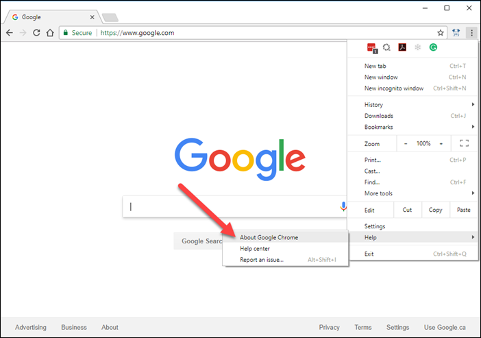 How to update google chrome rooof user knowledge base in google chrome click the menu button at the top right three dots and under help click about google chrome ccuart Choice Image