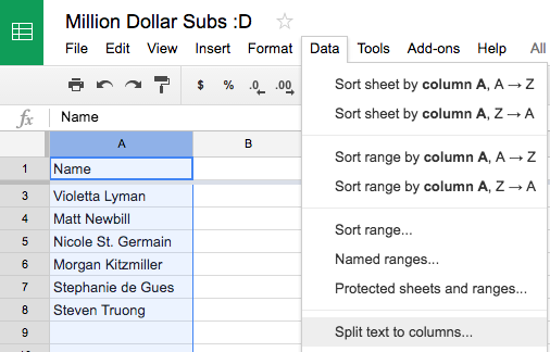 How to Split First Name and Last Name in a Spreadsheet