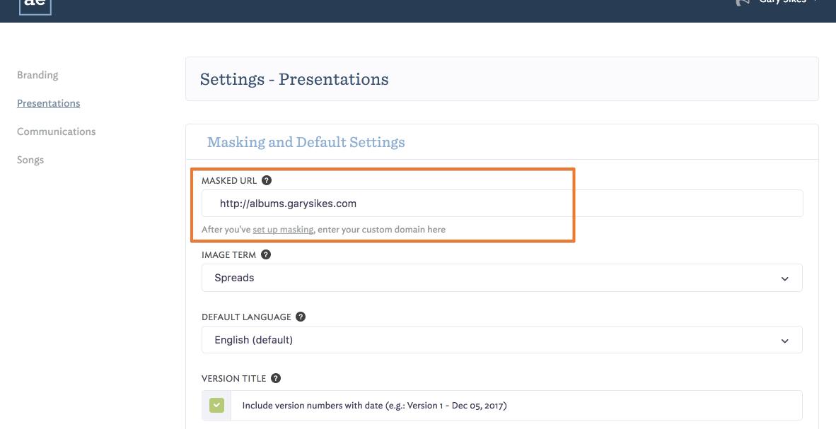 Creating a Custom Domain with URL Masking - AlbumExposure