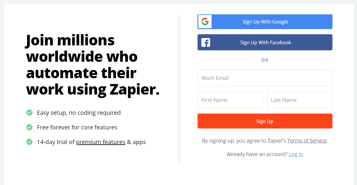 Zapier - Sign Up page