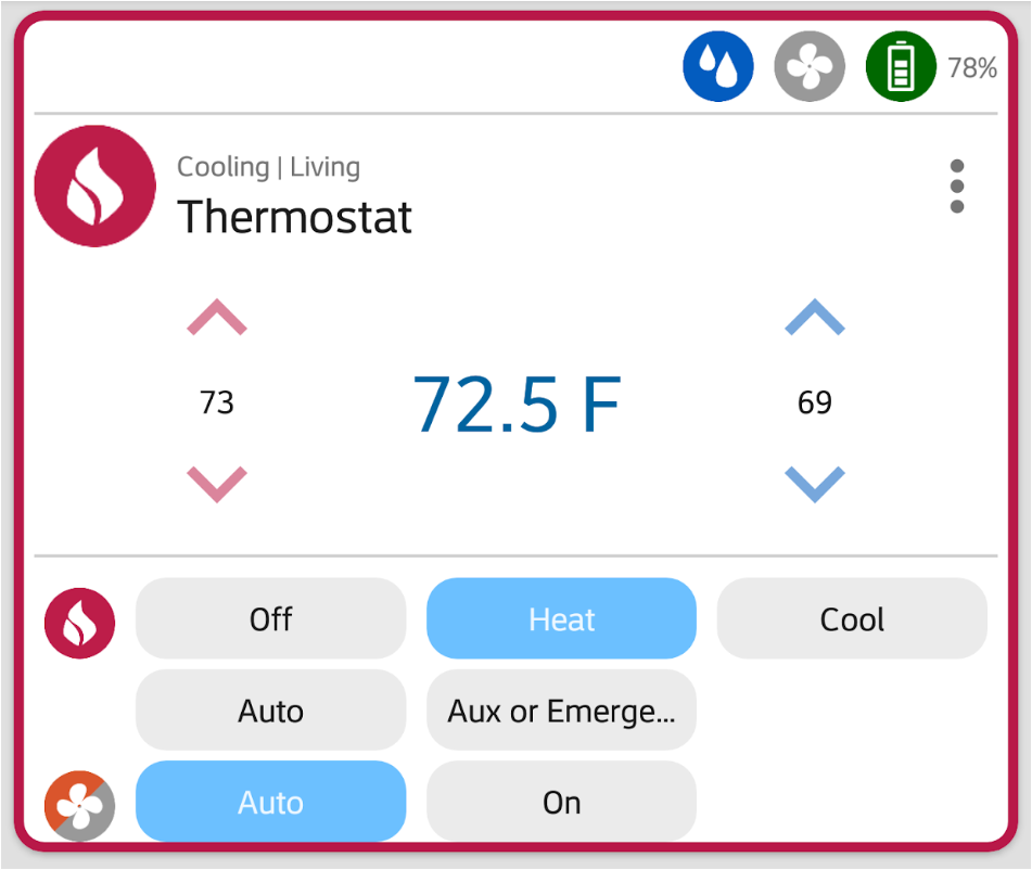 Thermostat in HomeSeer Mobile