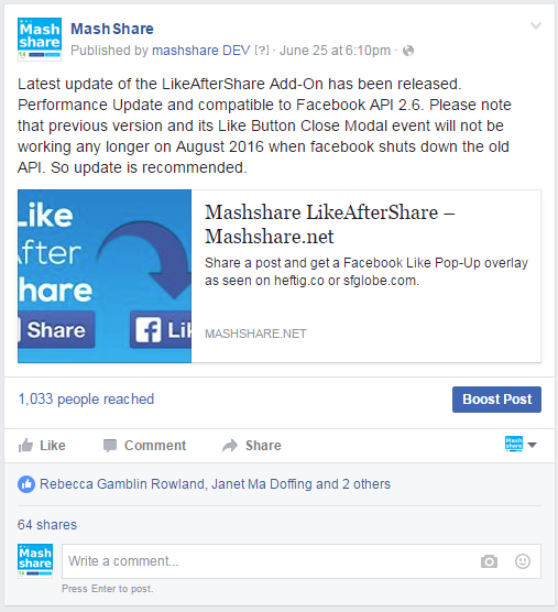 Shares Are Different on Facebook Fanpage - MashShare Documentation