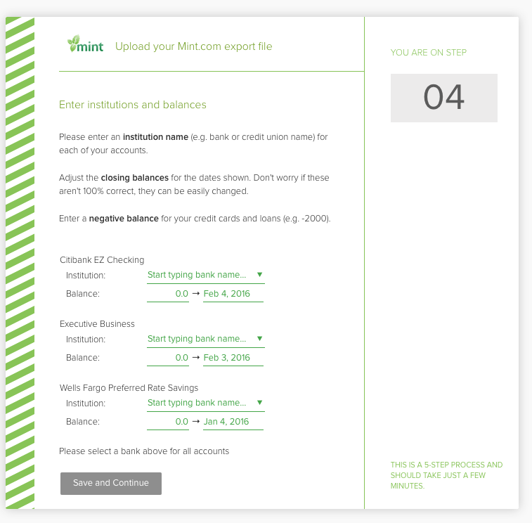 Importing accounts and transactions from Mint - PocketSmith
