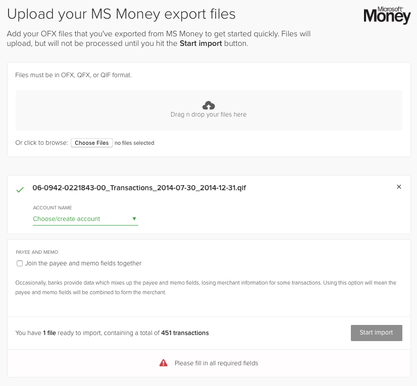 importing accounts and transactions from microsoft money