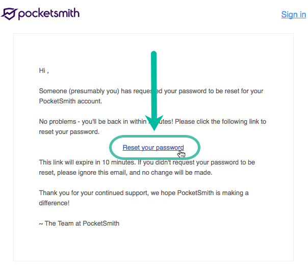 Changing or resetting your password - PocketSmith Learn Center