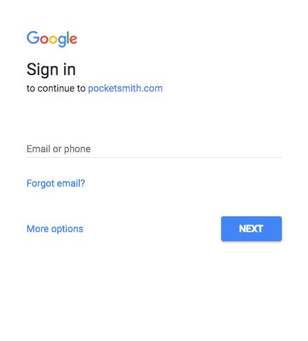 About Google Login PocketSmith Learn Center - Google docs sign in