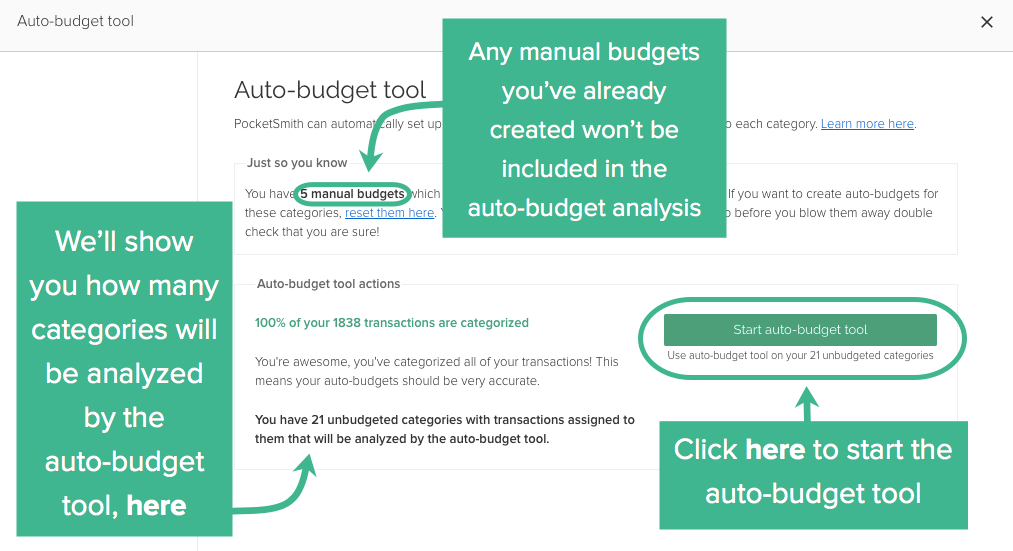 the auto budget tool pocketsmith learn center