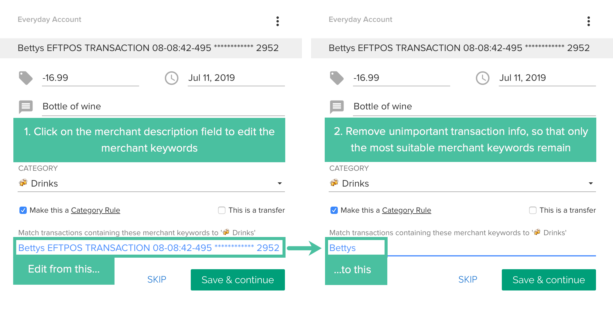 Using Category Rules to automatically categorize transactions