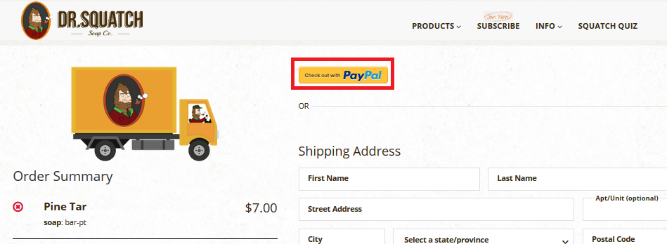 Order Issue - How do I use Paypal for check-out? - Dr  Squatch