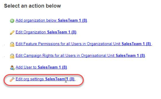 "- Settings for the team ""SalesTeam1"" where there are 8 agents"