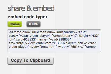 Embedding video - vzaar Knowledge Base