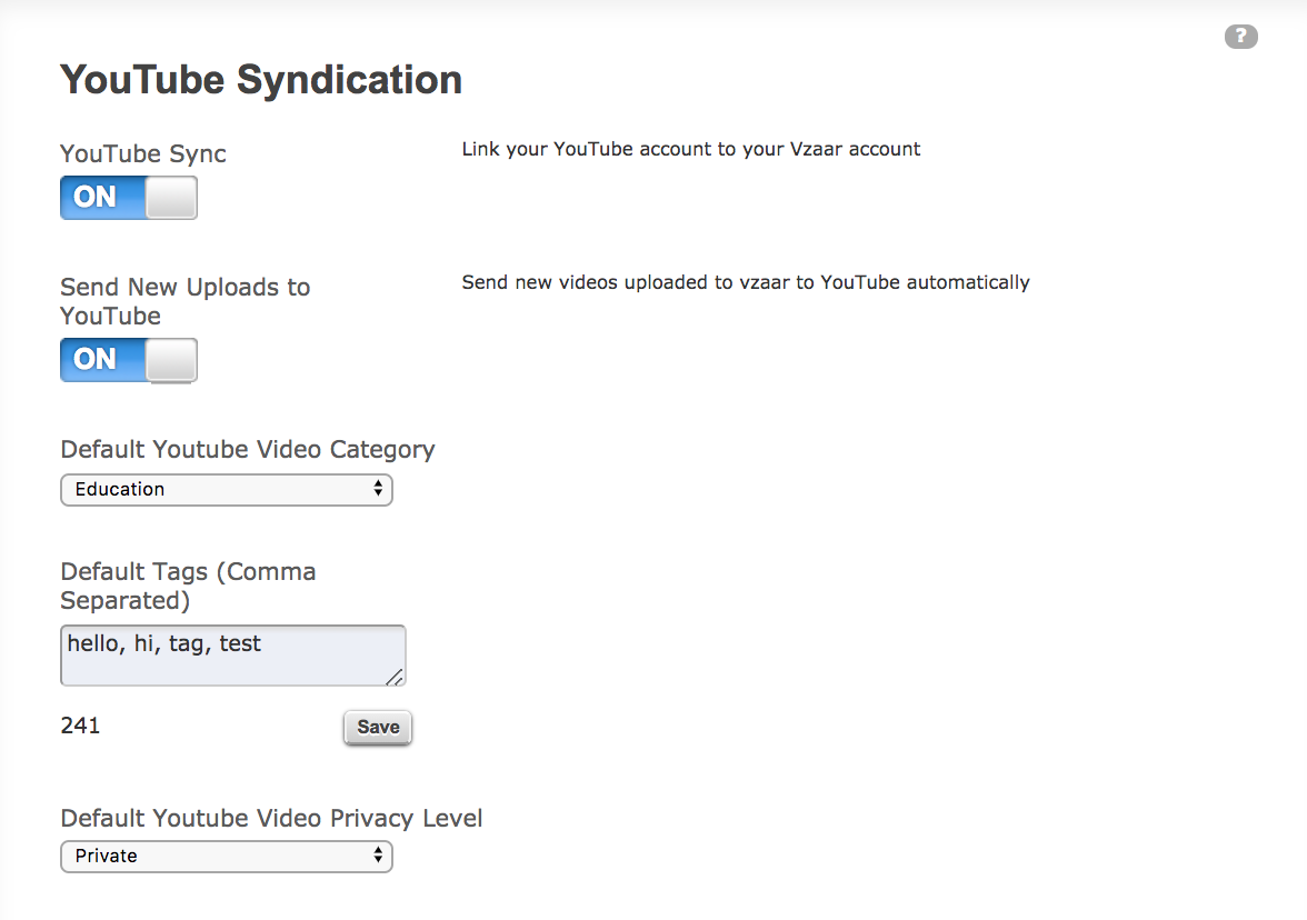 Legacy YouTube Syndication - vzaar Knowledge Base