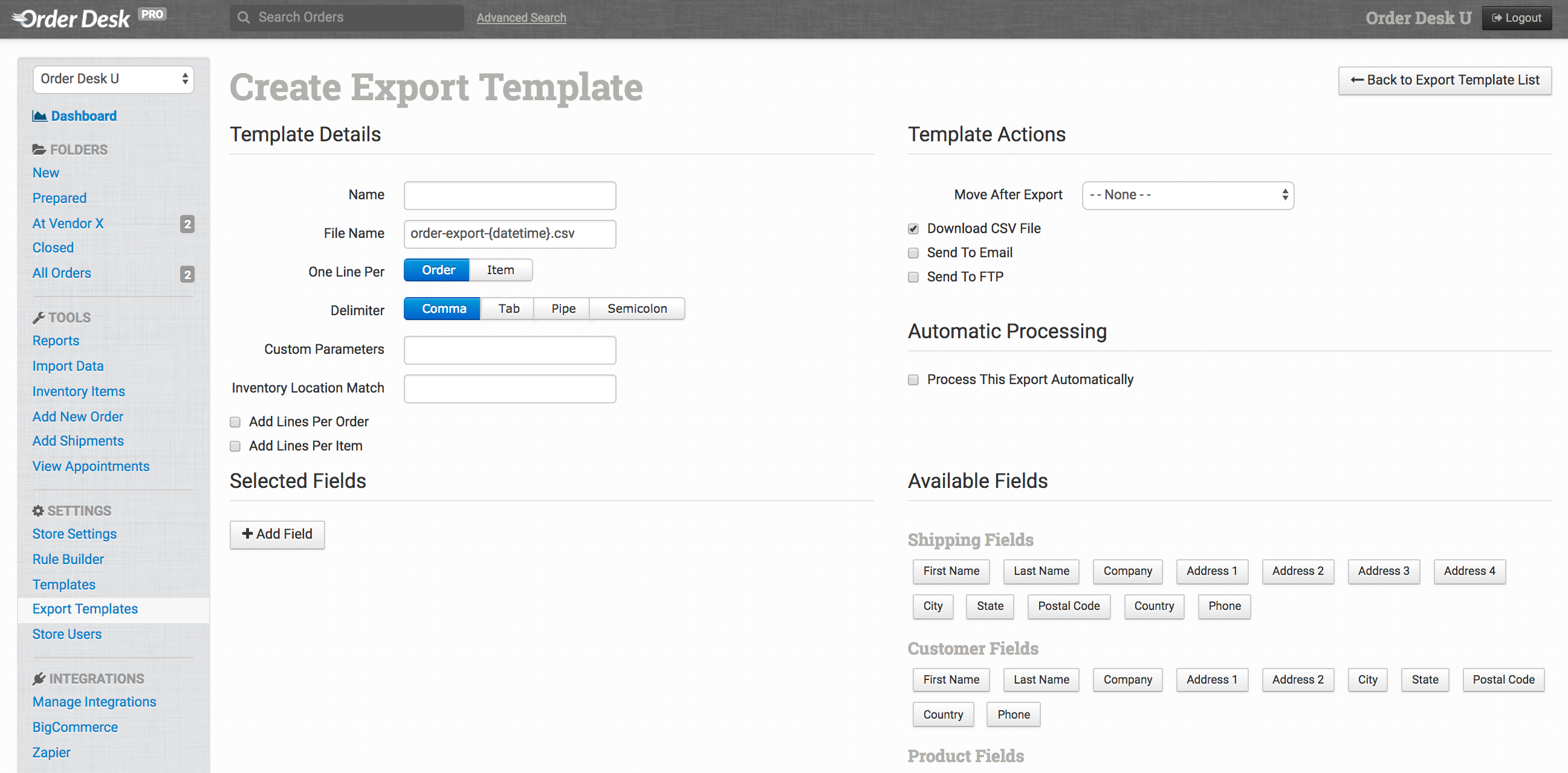 This Guide Will Go Over All Of The Settings In An Export Template And What They Mean Details Actions Automatic Processing Selected