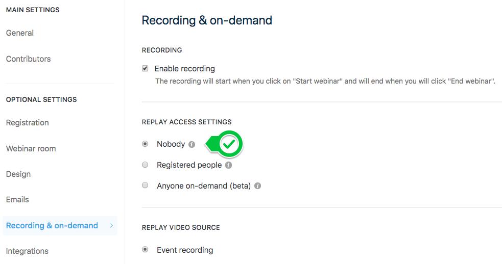 Webinar Replay - Documentation | Livestorm