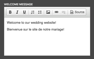 wedding website welcome messages