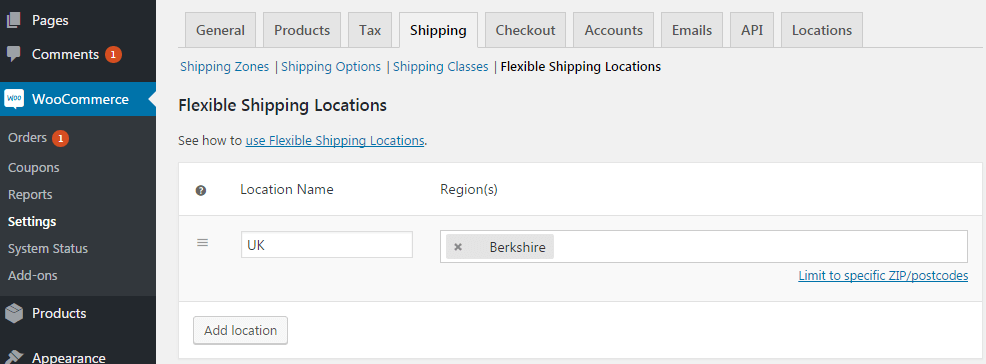 Flexible Shipping Locations Settings