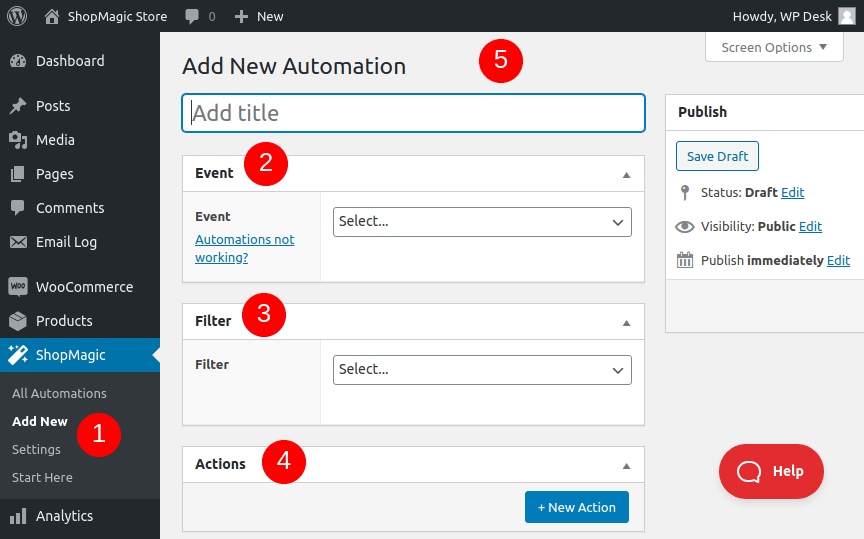 Add new ShopMagic automation