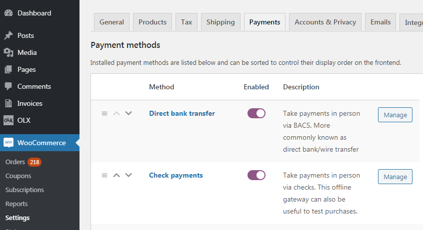 There are no payment methods available WooCommerce error