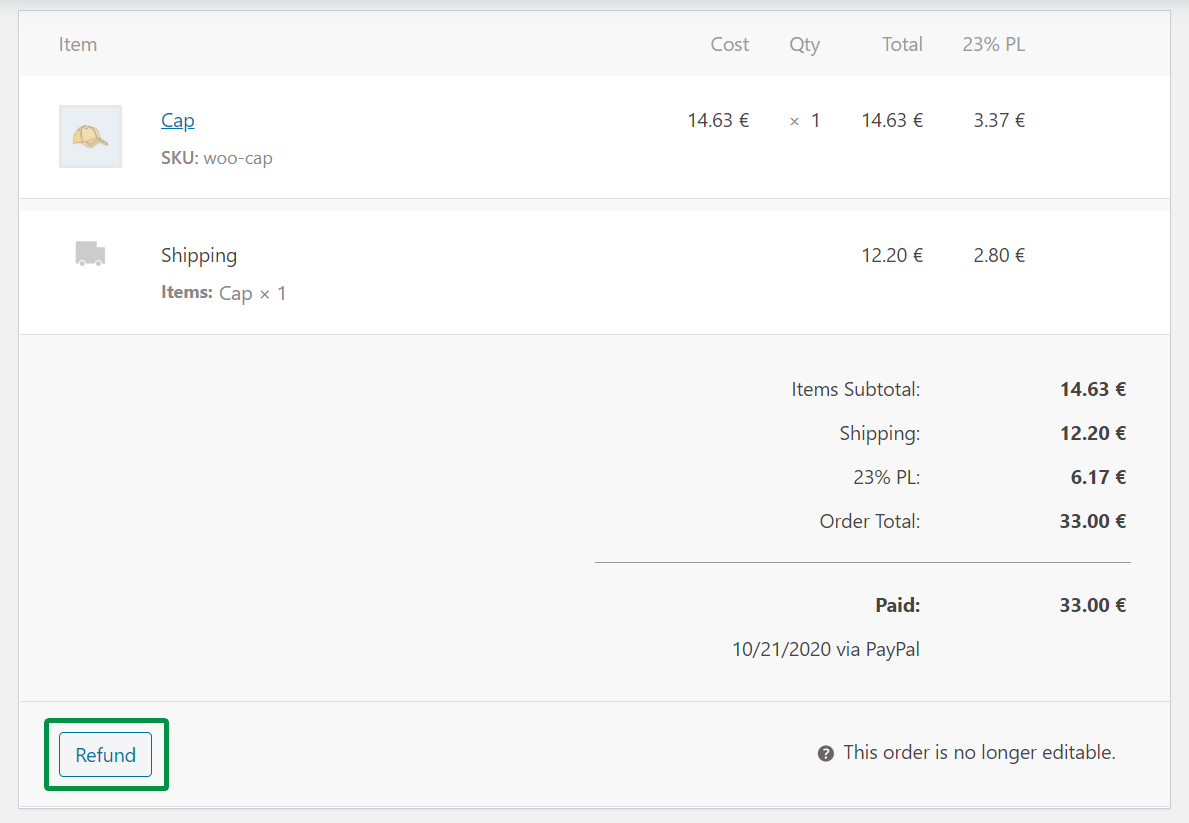 Flexible Invoices WooCommerce Correction Order Refund