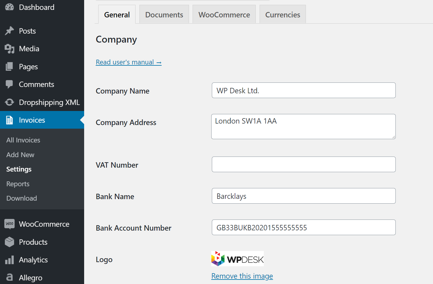 Flexible Invoices for WooCommerce and WordPress Company Settings