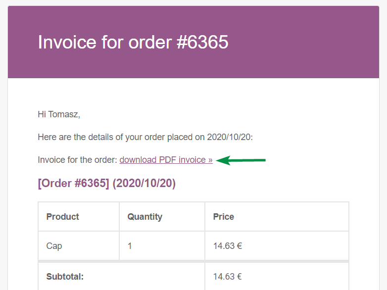 Flexible Invoices WooCommerce Email Invoice