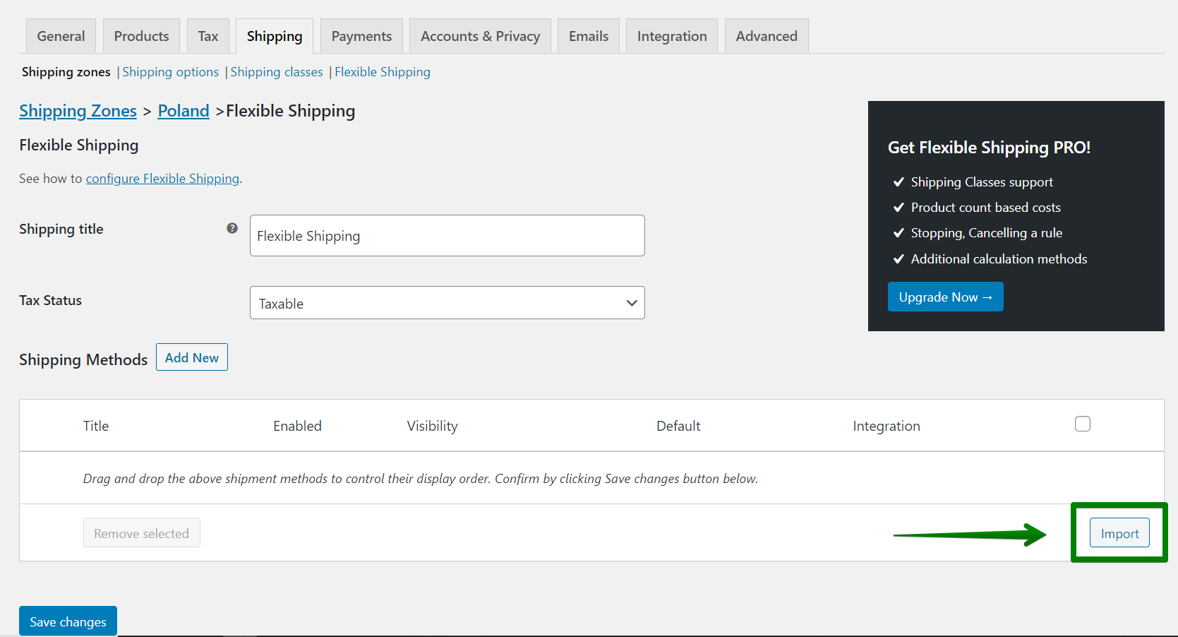 Flexible Shipping import shipping method button