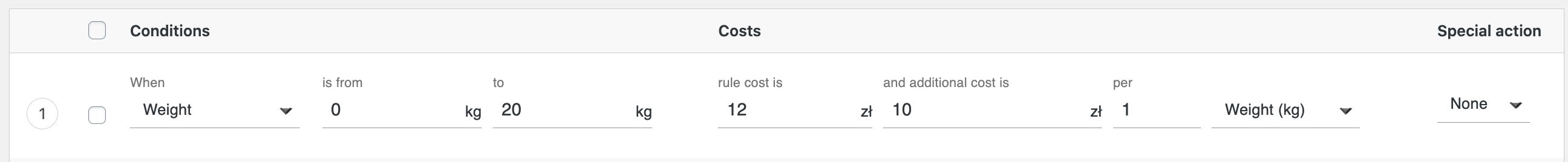 Weight-based rule with additional cost