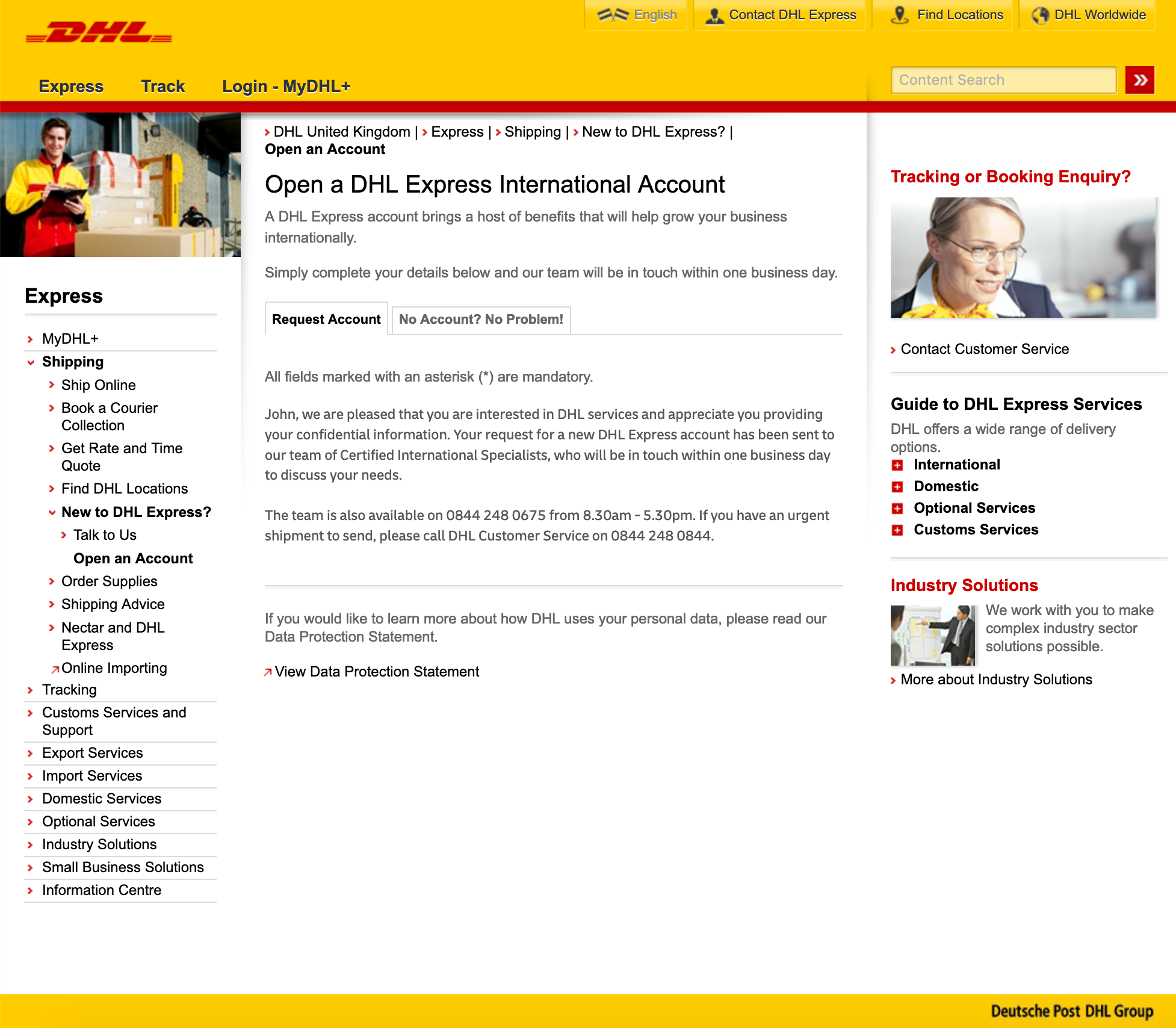 DHL Express - How to create an account? - DHL Express request account form submitted