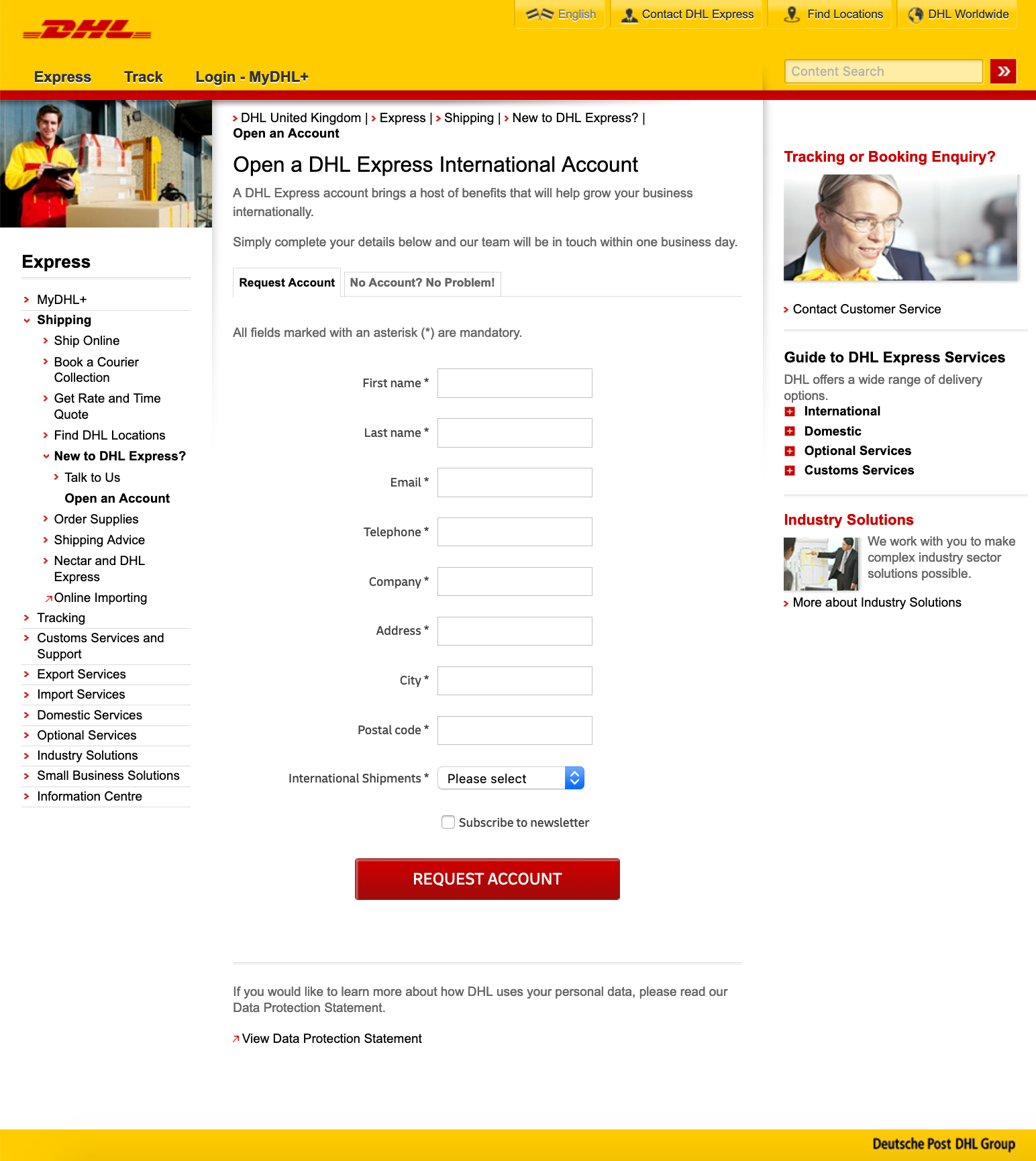 DHL Express - How to create an account? - DHL Express request account form