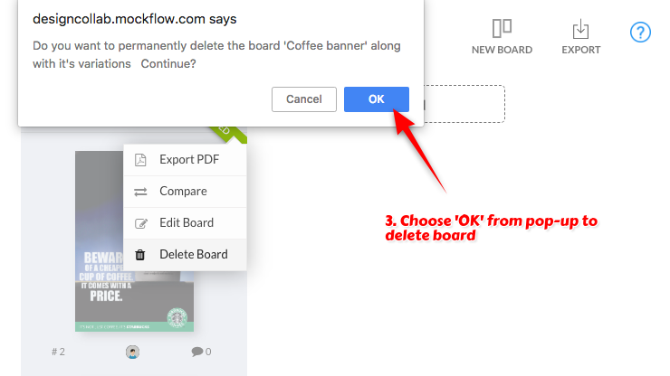 How to delete boards in DesignCollab ? - MockFlow Knowledge Base