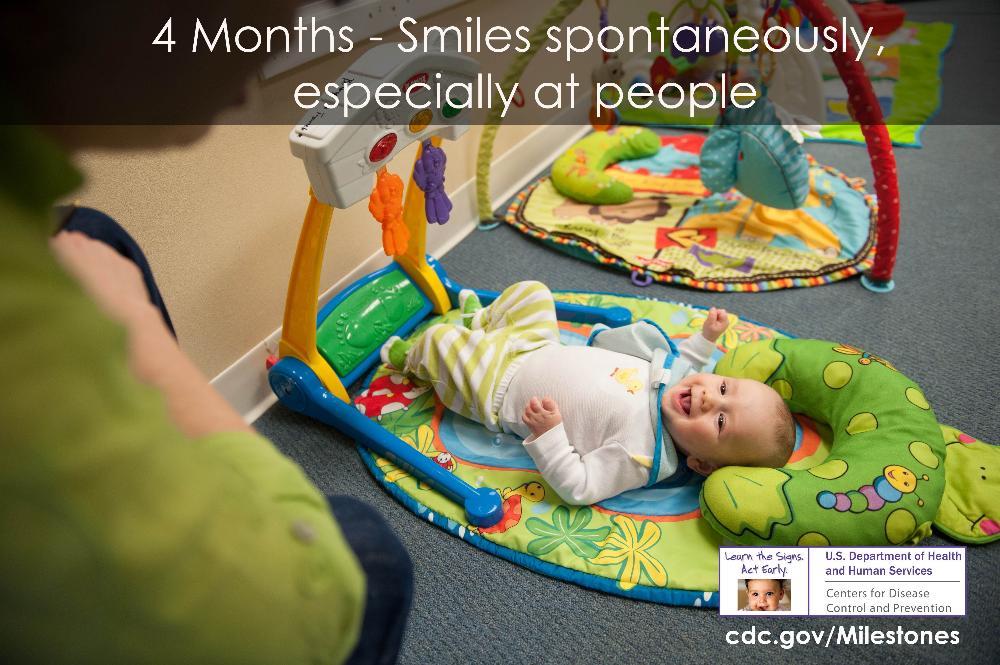 Developmental milestones for most children at 4 months - All