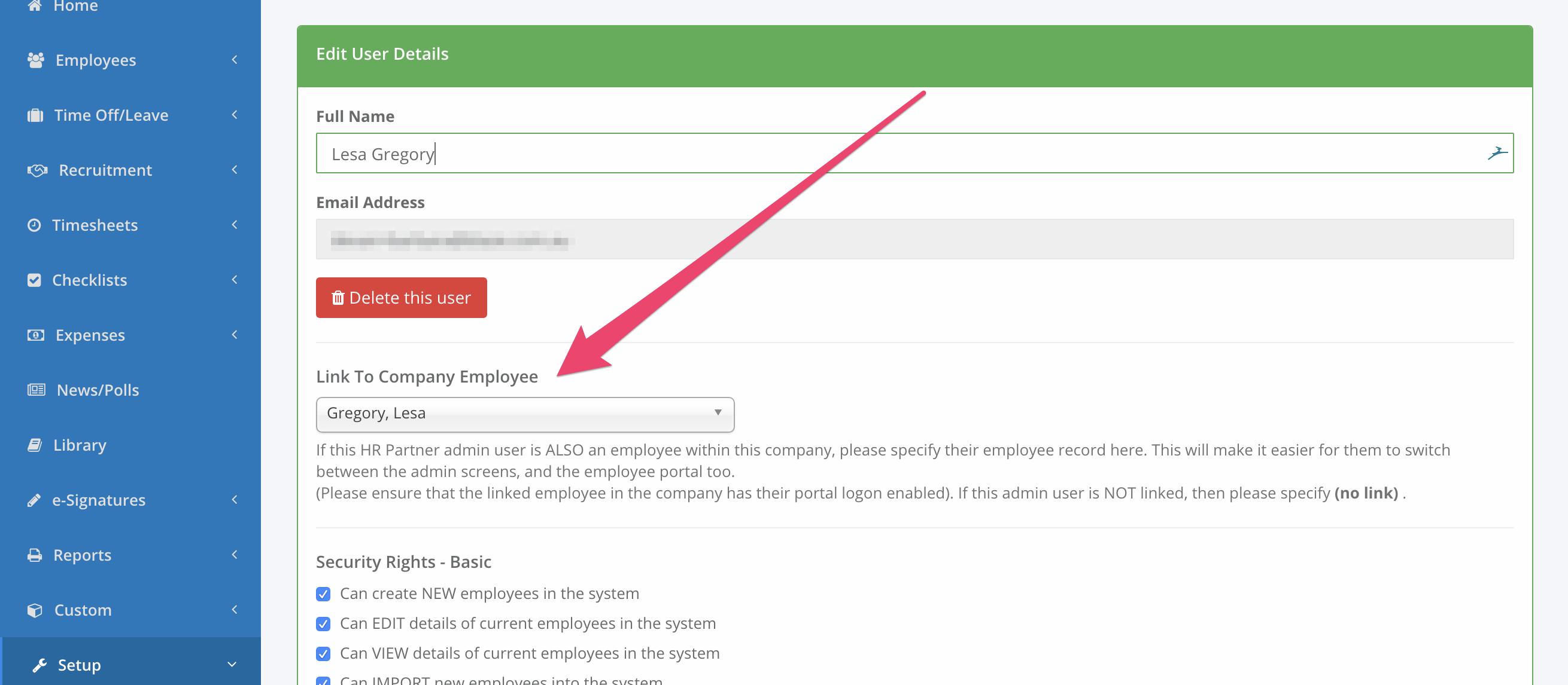 Linking Admin User & Employee Accounts - <b>HR Partner</b> Knowledge ...