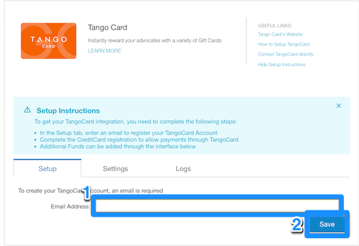 Setting Up Your Tango Card Integration - Influitive Support